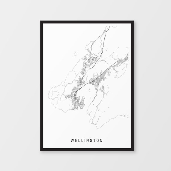 Map Of New Zealand Wellington.Wellington Minimalist Map Print Unframed New Zealand City Print Nz Maps Giclee Print Poster Black And White