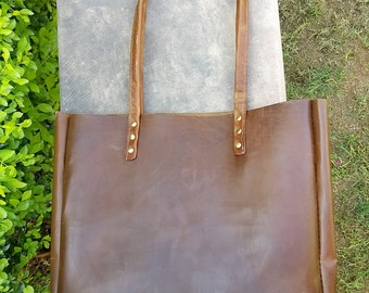 Vintage Large Tote Distressed Brown Full Grain Leather Bag, Leather Tote, Brown Leather Tote, Bucket Bag,Leather Satchel,Vintage Leather Bag