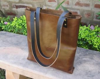 Large Tote Distressed Brown Full Black Strapped Grain Leather Bag, Leather Tote, Brown Leather Tote, Bucket Bag,Satchel, Vintage Leather Bag