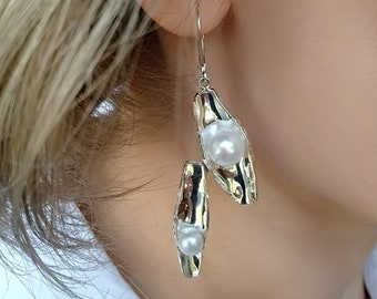 925 Sterling Silver Earrings | Natural Peal | Rhodium Plated | Contemorary, Modern, Unusual Design