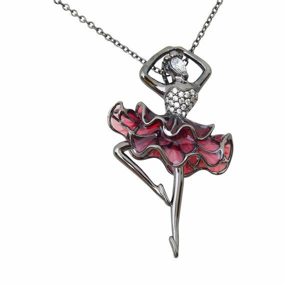 Ballerina Halskette | 925 Sterling Silber | Roter Emaille | Schwarz Rhodium vergoldet | Ballett Schmuck Stil