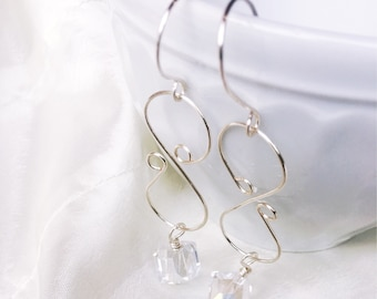 Crystal and Wire Drop Silver Earrings