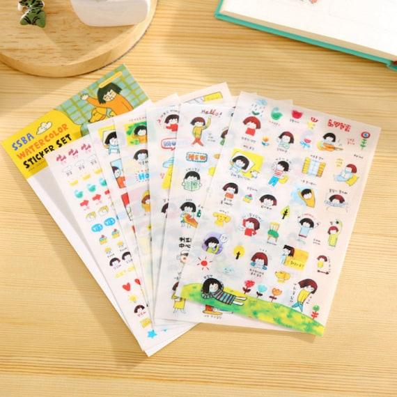 12Sheets Yellow Emoji Diary Planner Decoration Paper Stickers Scrapbook Calendar