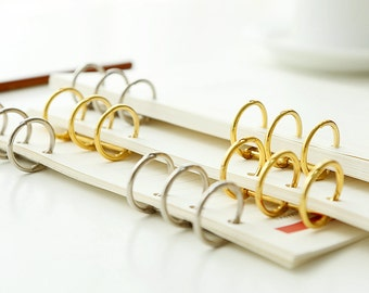 Set of 2, A5 A6 Planner Binder, planner binder ring, Journal insert, gold, Notebook ring, refillable planner, planner organizer, collection