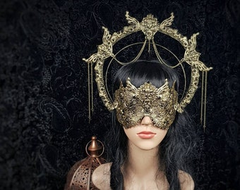 Set Art Nouveau halo headband & blind mask, gothic headpiece, gothic halo, holy crown, goth crown / Made to order