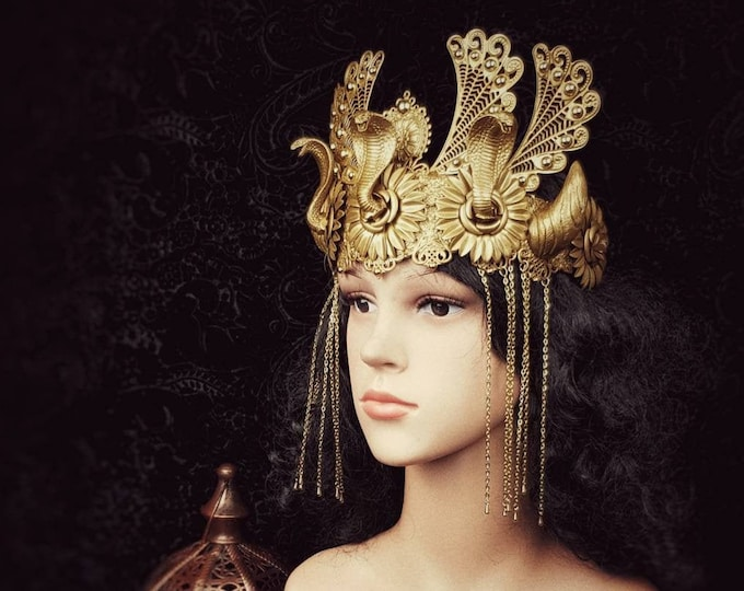 Cleopatra Crown, Snake, Cobra Headpiece, Medusa,available in different colors, Fantasy costume