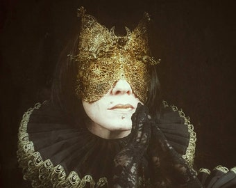 "Halloween Special,Cat Mask ""Moon flower"" blind mask with crystals, metal mask,Cat Mask Moonflower,ready to ship"