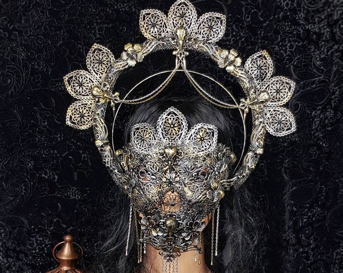 II.Set Raven crown, blind mask & jaw mask, gothic headpiece, medusa costume, holy crown, goth crown, halo, halo / Made to order