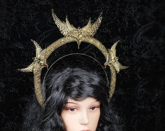 "Halo ""holy crow"" headband, halo, gothic crown, gothic headpiece, gothic headdress, holy crown, goth crown / Made to order"