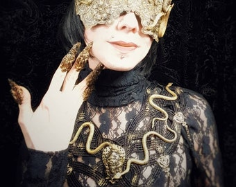 "Tears of medusa ""Lace collar with snakes and crystals, Medusa Collar with Snakes & Kristalle/silver or gold-made to order"