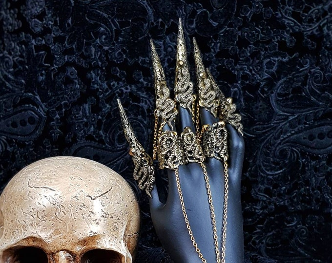 Finger claws with bracelet, medusa costume, finger claws,Metal glove, gothic headpiece, blind mask, cosplay  /MADE TO ORDER