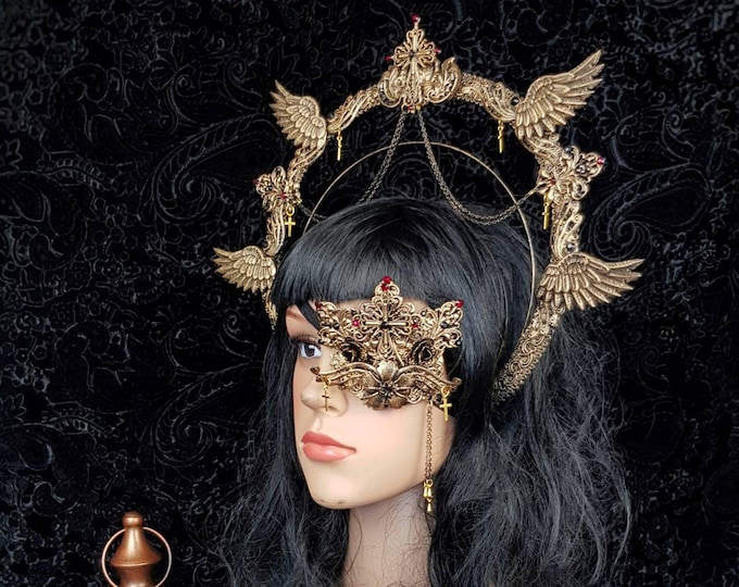 I.Set Angel Cross Halo & eyepatch, gothic headpiece, blind mask, goth headpiece, jawmask, goth crown,  holy crown / Made to order