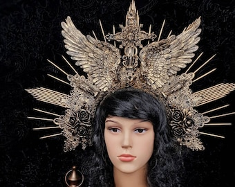 "Big "" Angel wings"" Madonna cross Halo Headpiece, avaiable in different colors"