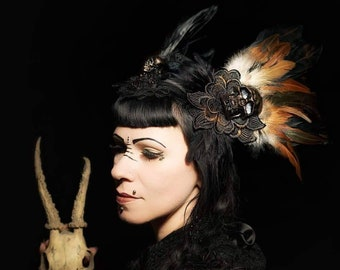 Halloween Special, Skull Pagan headpiece with feathers and 3 skullheads in bronze black with lace and appliques, skull headpiece