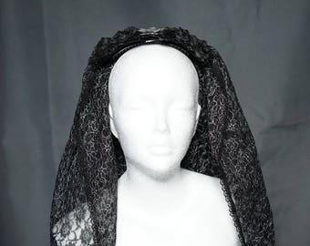 Black silver wedding veil with roses / schwarzer silber Hochzeit Schleier mit Rosen