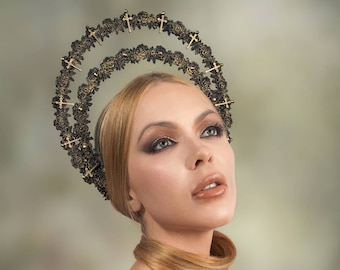 Halo headband, halo, gothic crown, gothic headpiece, gothic headdress, holy crown, holy headband, goth crown / Made to order