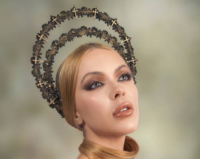 Cross halo headband, halo, gothic crown, gothic headpiece, goth headpiece, holy crown, holy headband, goth crown / Made to order