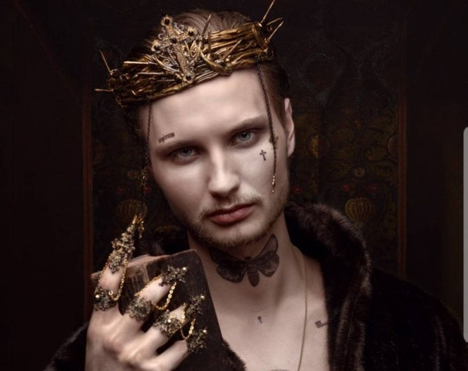 """Set """"Holy"""" Thorns Crown with cross and chains and fingerclaws, goth crown, gothic headpiece, gothic crown/ Made to order & Made to measure"""
