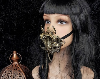 READY TO SHIP / Cobra Jaw mask, mouth mask, mask, mouth patch, medusa costume, cleopatra, gothic headpiece, blind mask, goth crown