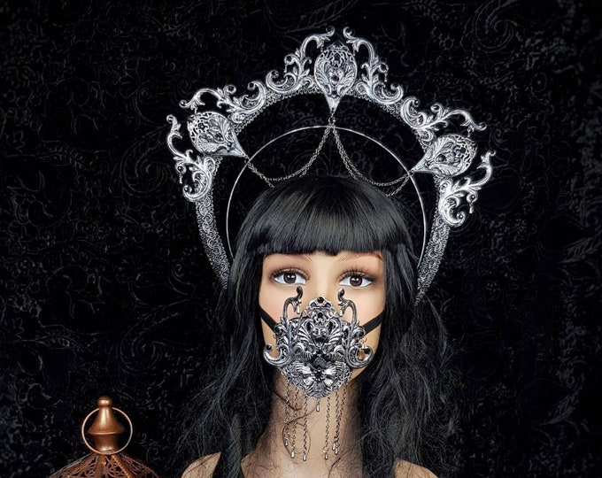 II.Set Gargoyle Halo & mouth mask, jawmask, gothic headpiece, gothic halo, vampire crown, goth crown / Made to order