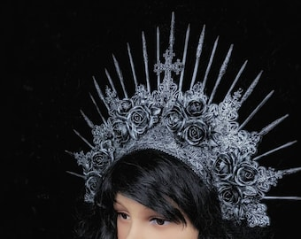 Gothic headpiece with roses, gothic crown, holy crown, goth crown, in different  colors /MADE TO ORDER