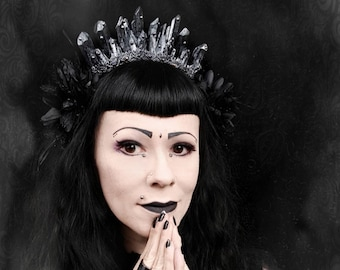 """Crystal crown """"Dark noir"""" headpiece in black/silver or black gold, Kristal Krone, headdress with dazzling Cabochons/MADE TO ORDER"""