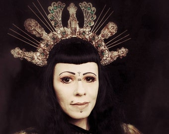 "Halo ""Holy Madonna"" crown headpiece in different colors available/Halo ""Holy Madonna"" headdress, crown/MADE TO ORDER"