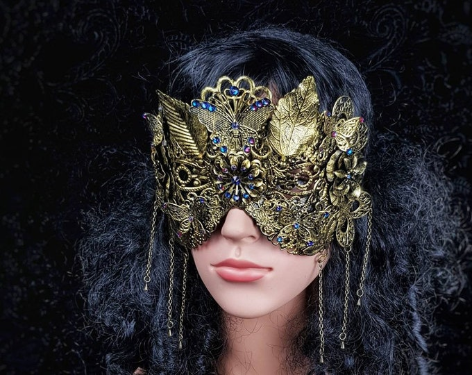"""READY TO SHIP / Blind mask """" Fairy Butterfly"""", cosplay, goth crown, fantasy mask, gothic Headpiece, witch, pagan, gothic crown"""