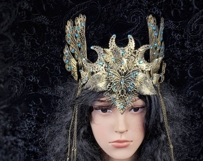"""READY TO SHIP / Crown """" Butterfly """", pagan crown, vikings, celtic, cosplay, goth crown, gothic headpiece, medusa costume, blind mask"""