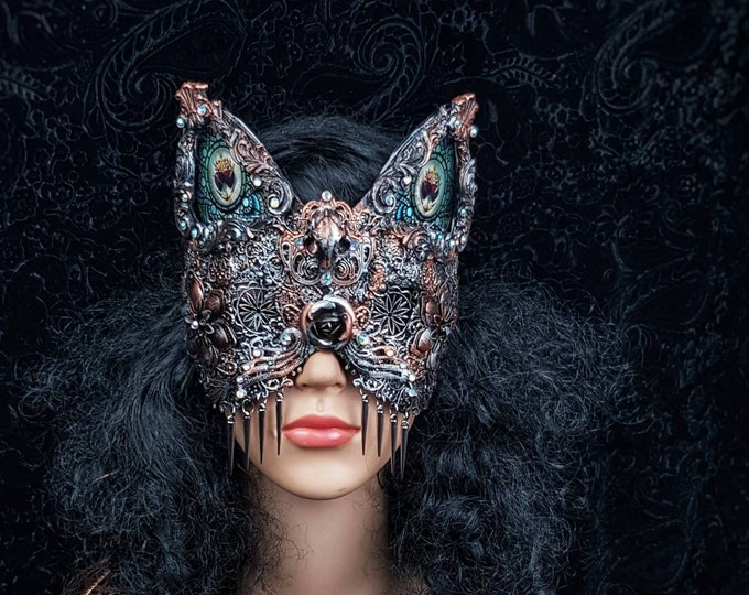 """Stained glass, blind mask, cat mask """"Mina """", goth crown, gothic headpiece, medusa costume, fantasy mask, pagan, cosplay / Made to order"""