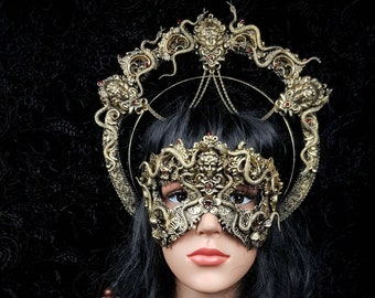 Set Medusa halo headband & mask, medusa costume, gothic headpiece, snakes halo, goth crown, classic or blind mask/ Made to order