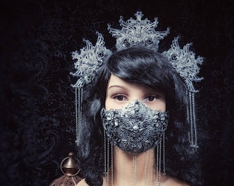 "Set ""Jeanne d'Arc"", gothic crown, gothic headpiece & mouth mask, headdress, jaw mask, different colors available/ MADE TO ORDER"