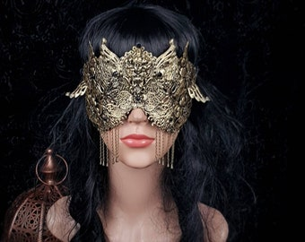 Small Art nouveau, blind mask, goth crown, baroque mask, gothic headpiece, gothic mask, fantasy mask, Made to order