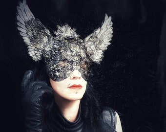 "Valkyrie Crown, blind mask headpiece, metal masks headdress ""Valkyrie,"" in Antique look/MADE TO ORDER in different colours"