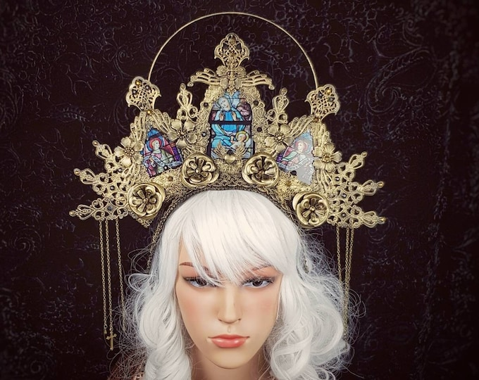READY TO SHIP / Stained glass, Halo Cathedral headpiece, blind mask, Halo, gothic crown, gothic headpiece, goth crown