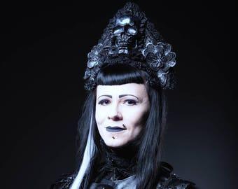 SALE gothic headpiece, Gothic skull headdress in black silver