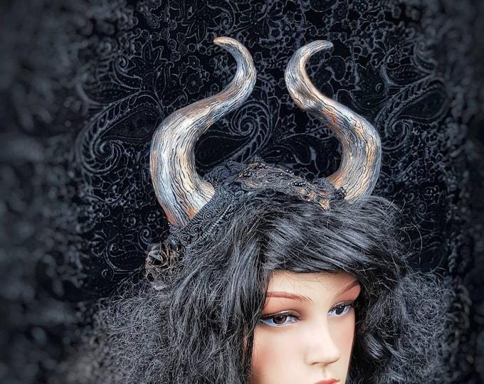"Ready to ship / Horns Headpiece "" Cernunnos "", pagan, celtic, gothic headpiece, fantasy costume, medusa costume, viking, goth crown"