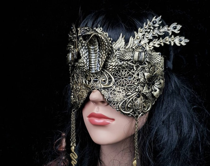 Cobra scarab mask, blind mask, Snake mask, Cleopatra Headpiece, Medusa costume, fantasy costume, available in different colors