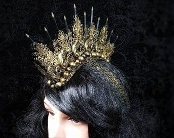 "Ready to ship / Metal Mohawk ""Amazone"", Warrior, gothic headpiece, medusa costume, fantasy headpiece, goth crown, cosplay, blind mask"