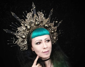 Medusa Raven Snake Halo, headpiece in different colors, snake headdress in different color variations /MADE TO ORDER