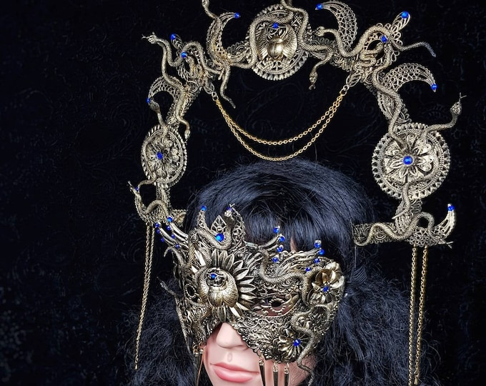 "READY TO SHIP Medusa Set "" Anubis"" halo & blind mask, Cleopatra, Medusa Costume, pharao, gothic headpiece, cosplay, goth crown"