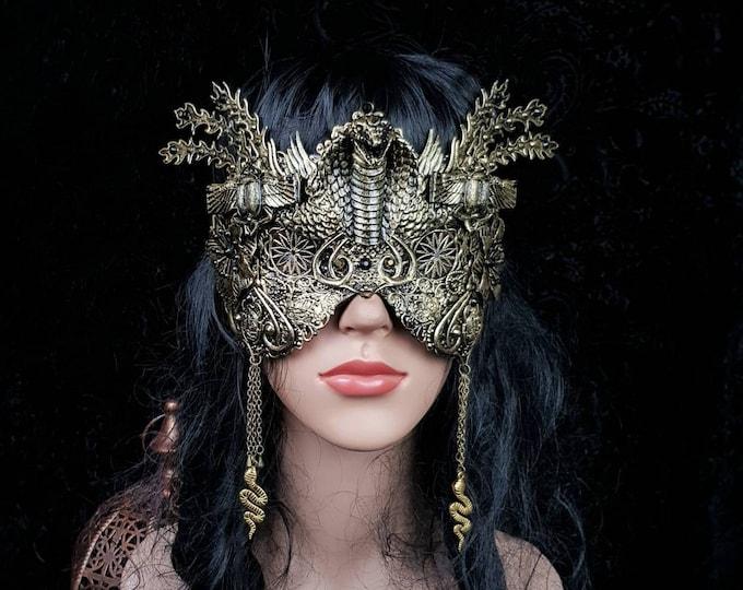 READY TO SHIP / Cobra scarab mask, blind mask, Snake mask, Cleopatra Headpiece, Medusa costume, fantasy costume