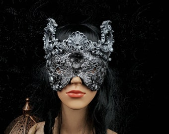 "Blind Mask "" Baroque "", fantasy mask with resin ornaments, gothic mask, goth mask, in different colors available /MADE TO ORDER"