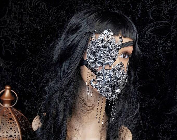 IV.Set Gargoyle eyepatch & mouth mask, gothic headpiece, gothic halo, vampire crown, goth crown / Made to order