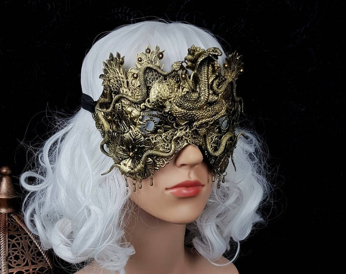 "Medusa, blind mask,  "" Cobra leaves "", Snake mask, Cleopatra Headpiece, Medusa costume, fantasy costume,gothic headpiece / Made to order"