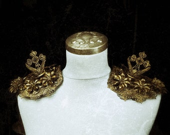 "Epaulettes Shoulder armor ""Angel warrior"" with Metal flowers, Angel and cross, gold or silver, shoulder pieces Engelskrieger/MADE TO ORDER"