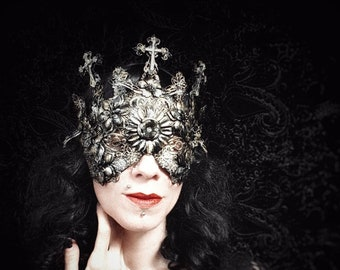 "Blind Mask ""Holy Crucified"" halo crown, Metal Mask with Crosses and Metal Flowers, Antique look/MADE TO ORDER"