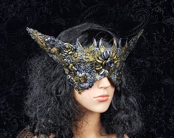 """Blind mask """" Elf ears """"gothic crown, cosplay, pagan, fairy, gothic headpiece, fantasy mask, medusa costume, witch / MADE TO ORDER"""