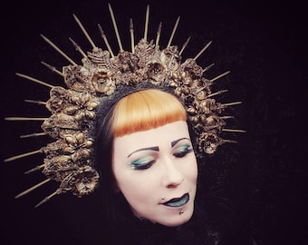 """Big Angel Halo headpiece """"Holy cross"""" in antique look gold or silver, big Angel Halo Headdress in antistare Look/MADE TO ORDER"""