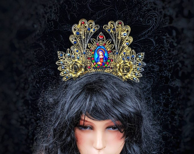 """Crown, Stained glass """" Roses of Madonna"""" cathedral headpiece, blind mask, gothic crown, gothic headpiece, goth crown / Made to order"""